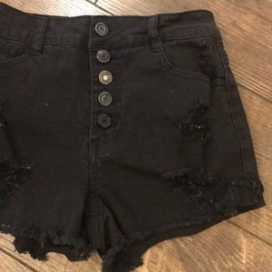High Waisted Button Fly Black Denim Jeans